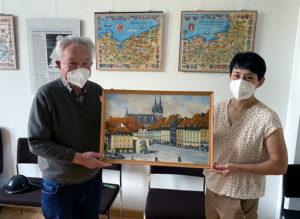 Foto: Josef Plahl und Lydia Tosses mit Stadtgemälde